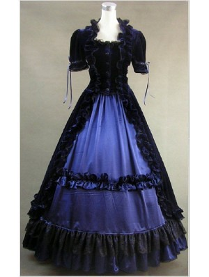black and blue gothic victorian dress
