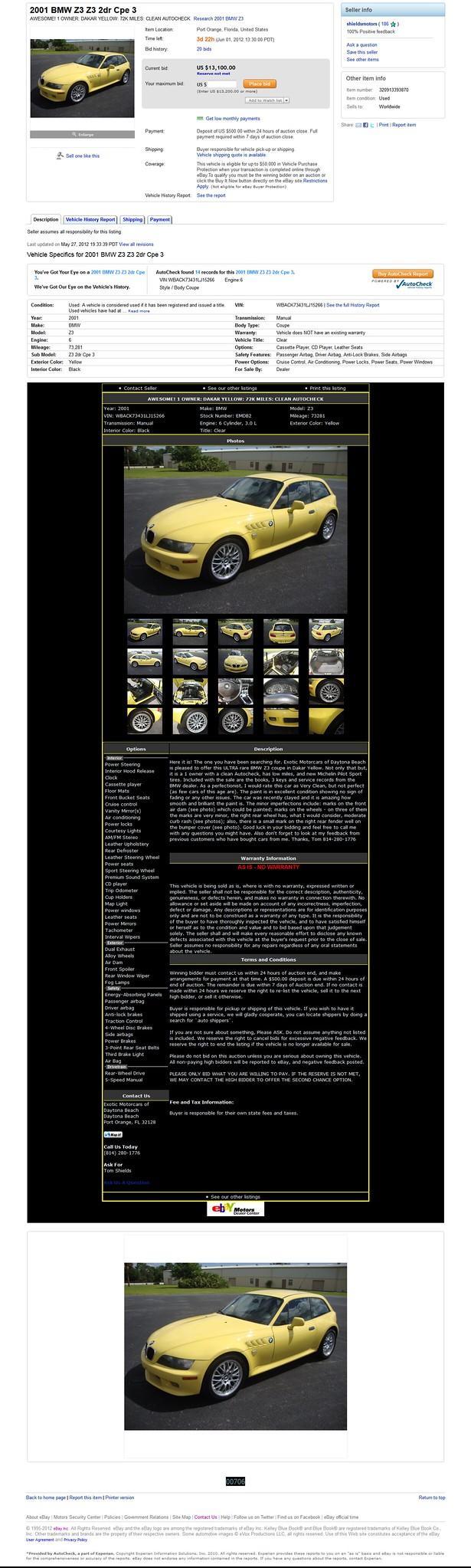 2001 Z3 Coupe | Dakar Yellow | Black | VIN WBACK73431LJ15266 | eBay Ad Screenshot | Item # 320913393870 | shieldsmotors