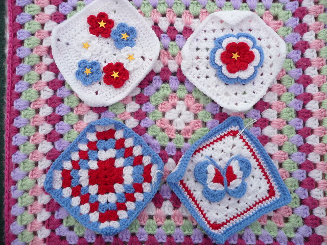 'jean nock' pretty red, blue & white Squares!