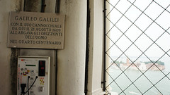 Plaque commemorating Galileo atop Campanile di San Marco