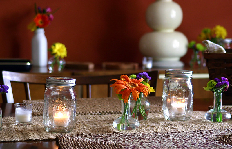 mason jar candles tea lights table setting