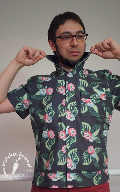 marchewkowa, pan Marchewka, blog, szycie, krawiectwo, hawajska koszula, męski wykrój, Burda 4/2008, #132, CottonBee, druk na kretonie