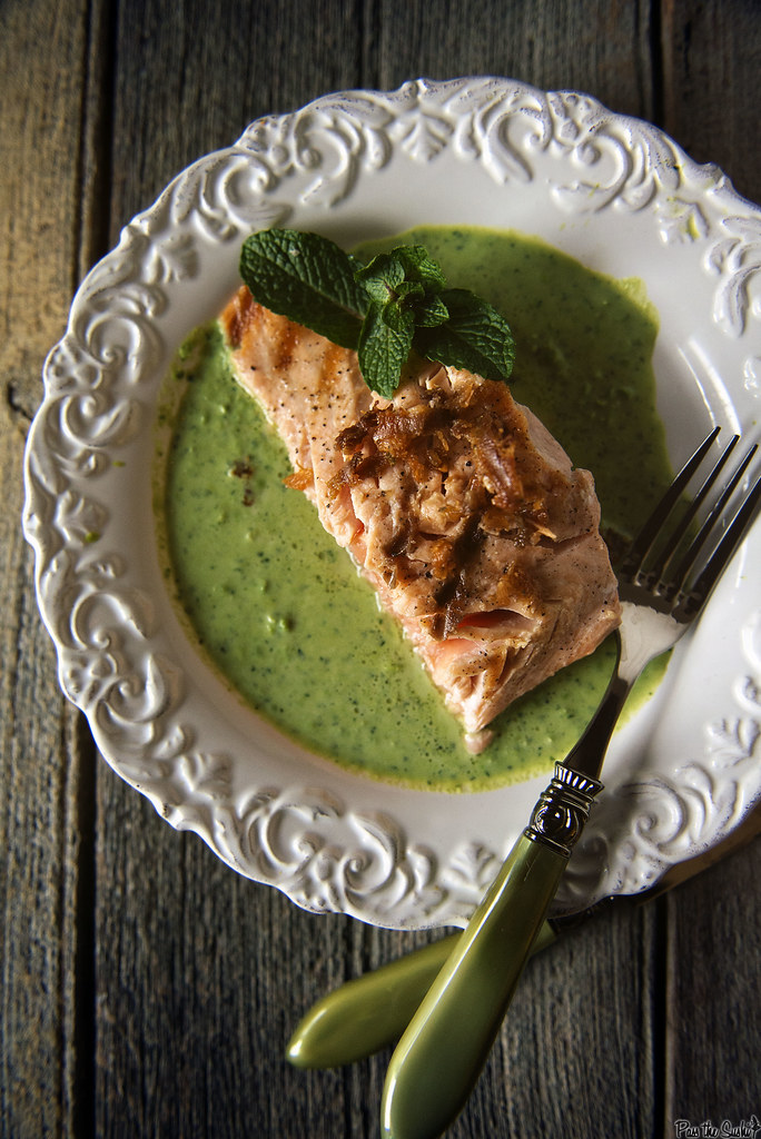 King Salmon with Peas and Mint \\ PasstheSushi.com