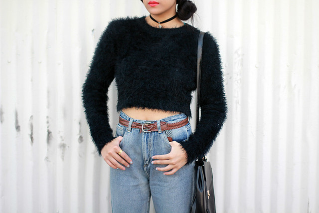 Missguided high waist mom jeans, fuzzy cropped jumper, velvet choker heart