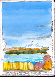 Mt. Baker, Saratoga Passage and the Yellow Wooden Fence