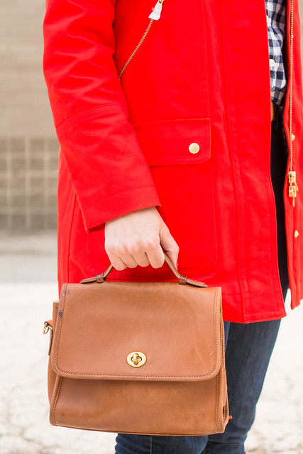 red J.Crew coat + gingham shirt + jeans + Merona ballet flats; spring casual outfit | Style On Target