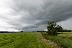 Storm over field on the Thames Path