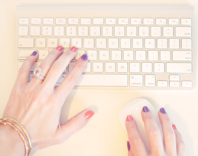 peach and purple alternating nails - manicure-apple keyboard and mouse-hands