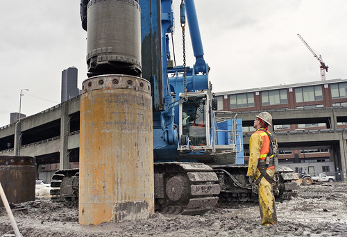 Preparing to build the SR 99 tunnel - boring machine launch pit piles