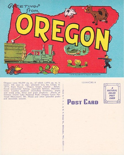 Greetings from Oregon (linen)
