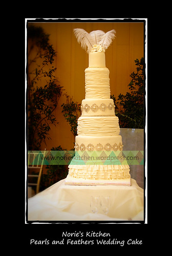 Norie's Kitchen - Pearls and Feathers Wedding Cake by Norie's Kitchen