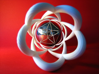 3D anamorphosis with a spherical mirror and a distorted shape put on a cylinder