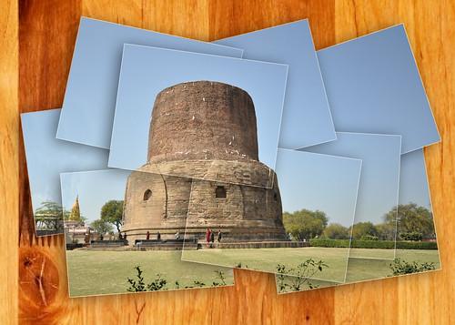 world wood india heritage landscape religious site buddha stupa varanasi sarnath budhism dhamekh