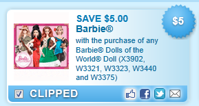 Barbie Dolls Of The World Doll Coupon