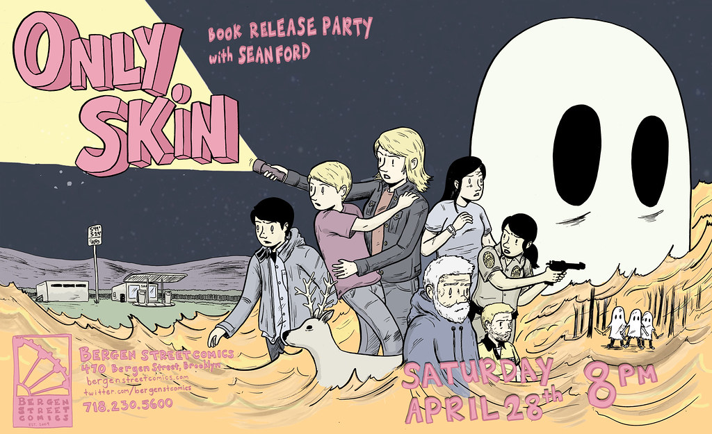 Only Skin Bergen St Comics Release Party Poster