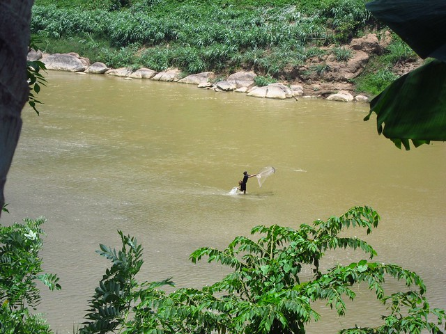 Boy Fishing in the Mekong River