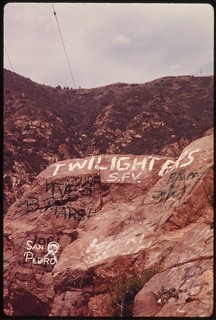 Graffiti defaces rocks in Malibu Canyon near Malibu California, which is located on the northwestern edge of Los Angeles County, May 1975