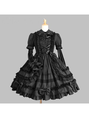 black long sleeves gothic lolita dress