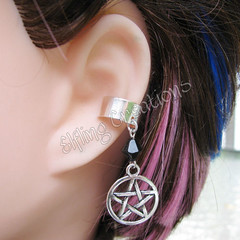 Black and Silver Pentagram Ear Cuff