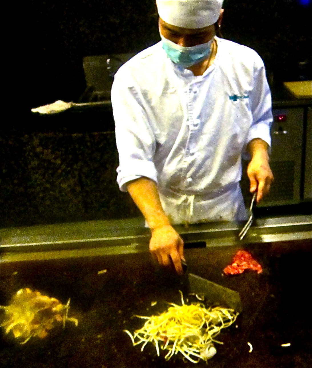 grill chef sauteeing my beef and bean sprouts