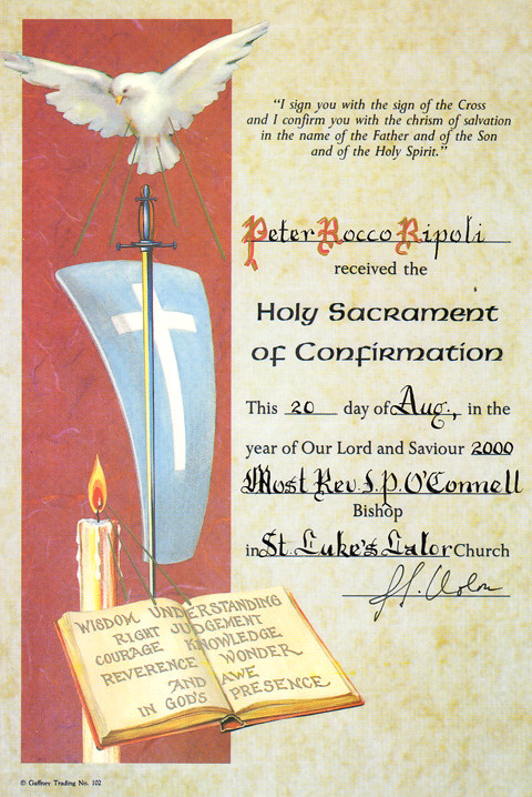 certificate holy sacrament of confirmation