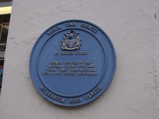 Photo of 23 Princes Street, Western Flying Post and Yeovil Times, and Post Office, Yeovil blue plaque