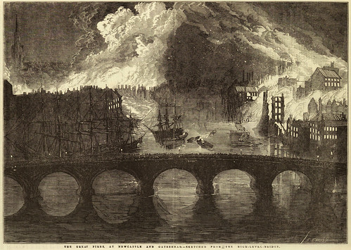 Drawing of the Great Fire, first published in the Illustrated London News of 14 October 1854