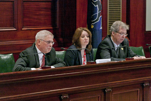 Bill Wehry (left), Pennsylvania State Executive Director for the Farm Service Agency, Denise Coleman (center), State Conservationist, Natural Resources Conservation Service, and Thomas Williams (right), State Director, Rural Development, discuss USDA programs during a recent Pennsylvania State Senate committee hearing.