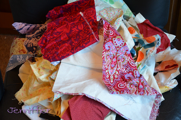 Remainder of fabric pile to be iron and sorted