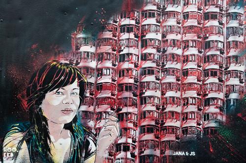 French street art duo Jana & JS's stencil work