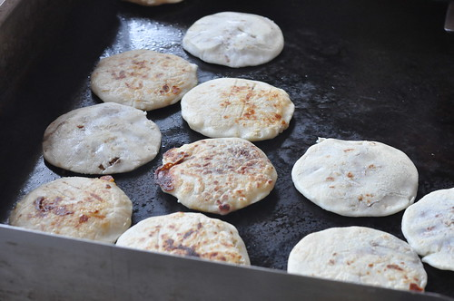 Pupusas on the griddle