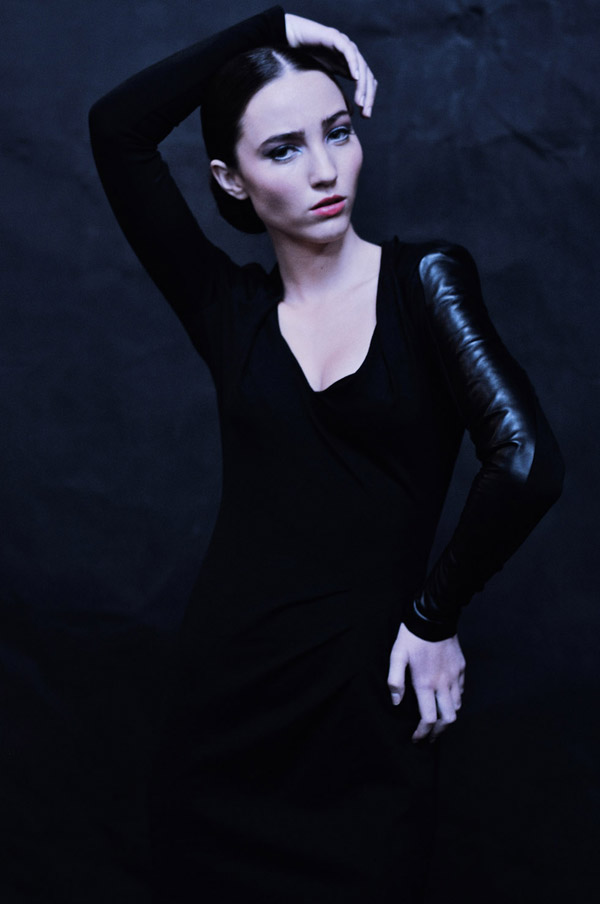 In Development, Spanish Dancer, Marvin – Black Chevron Dress,  Editorial Fashion Story shot on black canvas background