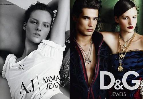 Sara-Blomqvist-campañas-D&G-Armani-Jeans