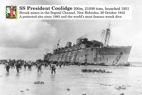 SS President Coolidge strikes two mines and is run aground and later sinks