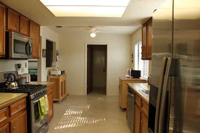 Kitchen, viewed from dining room doorway