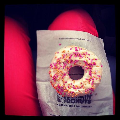 Dunkin Donut on my lap.