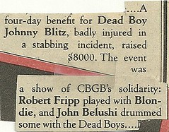 1979 Rolling Stone Magazine (Johnny Blitz Benefit at CBGB)