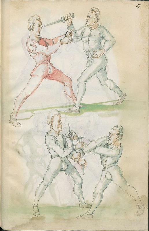 16th century sword fight manuscript drawing - Combat training 5