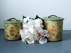 .Pair of Floral Tin Canisters - Vintage - Turquoise and Pink