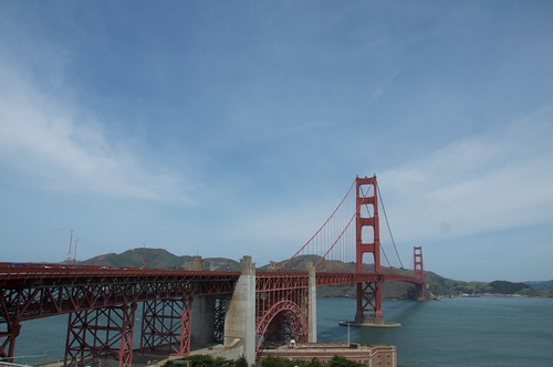 View of the full span of the Golden Gate Bridge, taken from the San Francisco side