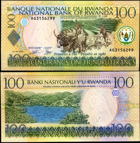 100 Frankov Rwanda 2003, Pick 29a