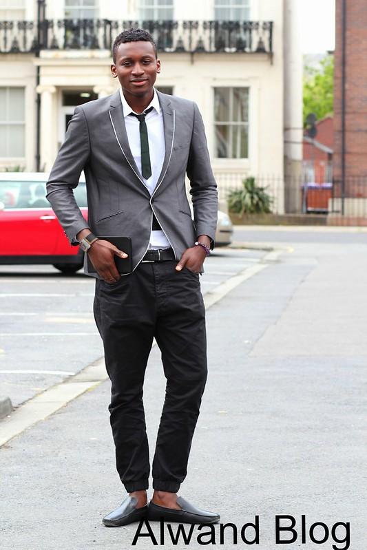 Shawl Collar Blazer & moccasin shoe: Street Style