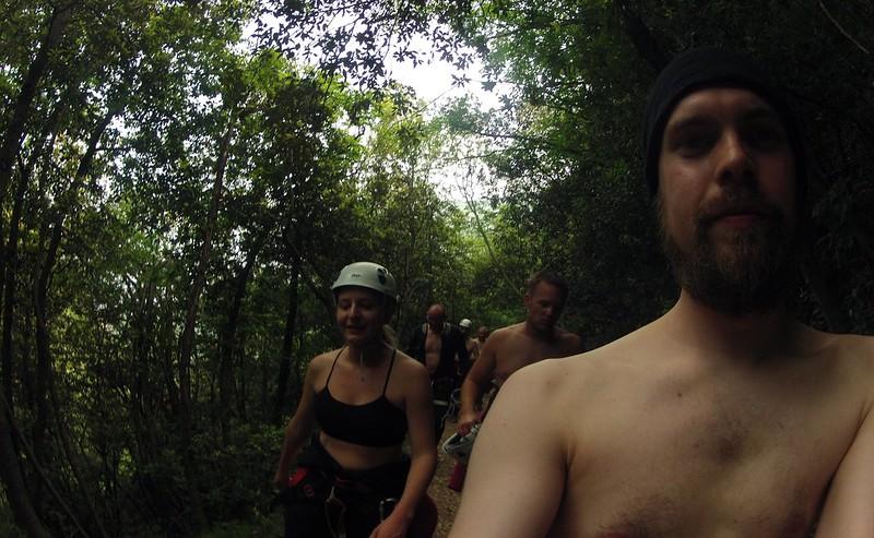 Hiking in neoprene suits