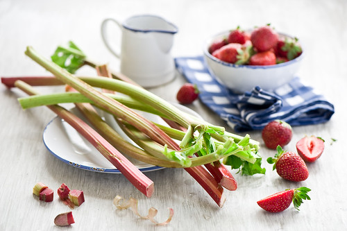 rhubarb and strawberry baking