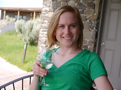 Heather enjoying wine
