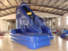 Blue inflatable double land water slide-05