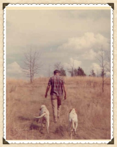 Daddy and his bird dogs, Joe and Jack.