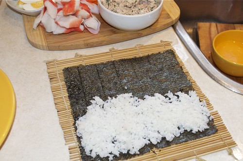 sushi rice on mat