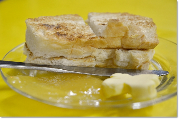 Roti Bakar with Butter and Kaya