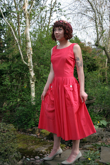 1940s / 1950s Pink Cotton Dress